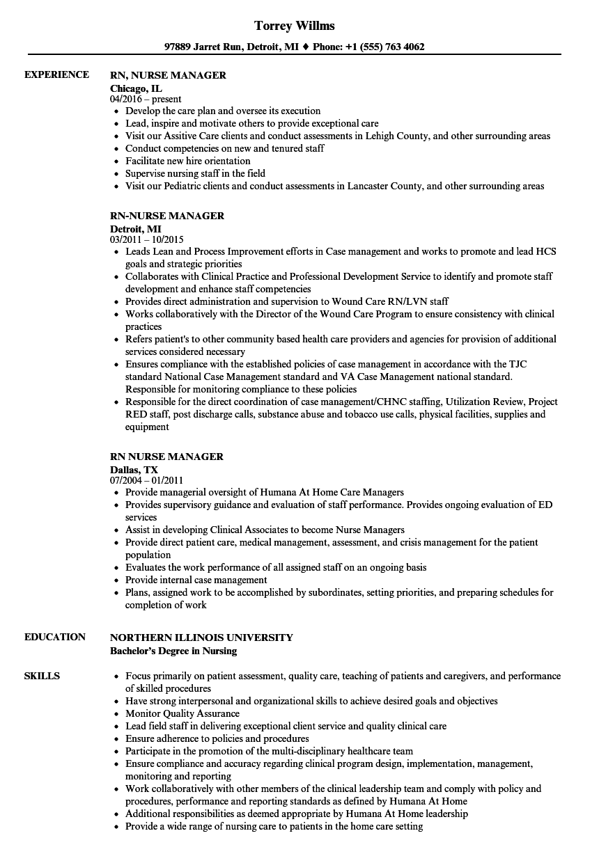 RN Nurse Manager Resume Samples | Velvet Jobs