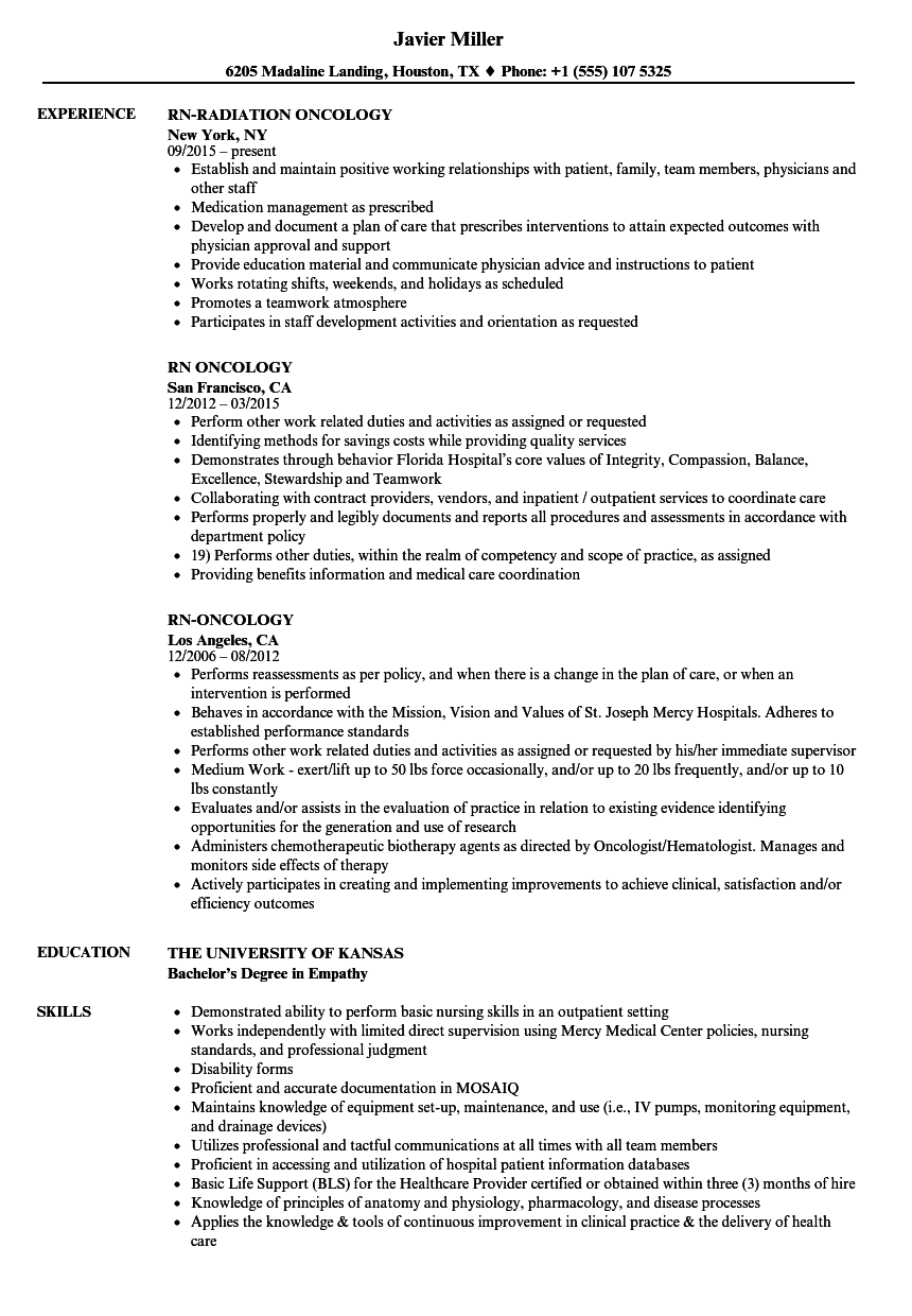 Download RN Oncology Resume Sample As Image File