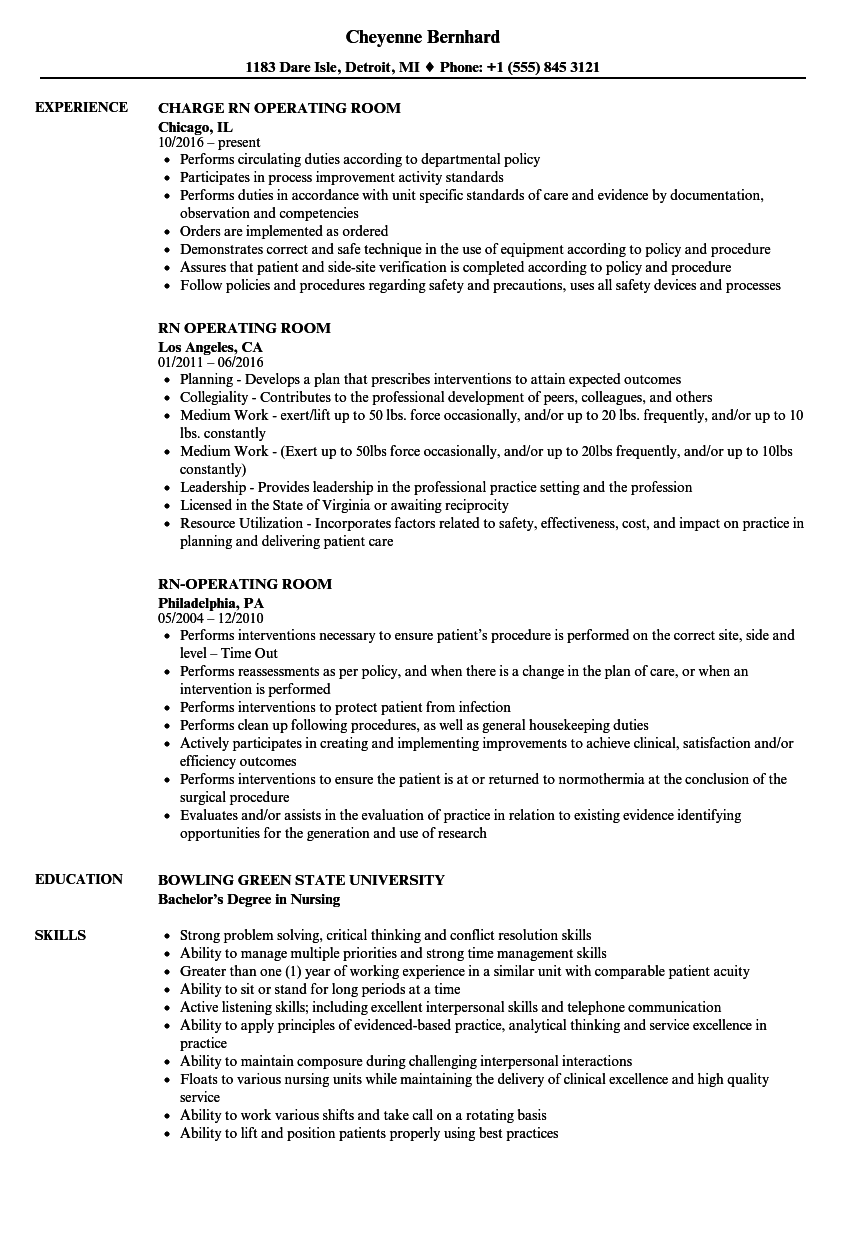 Rn Operating Room Resume Samples