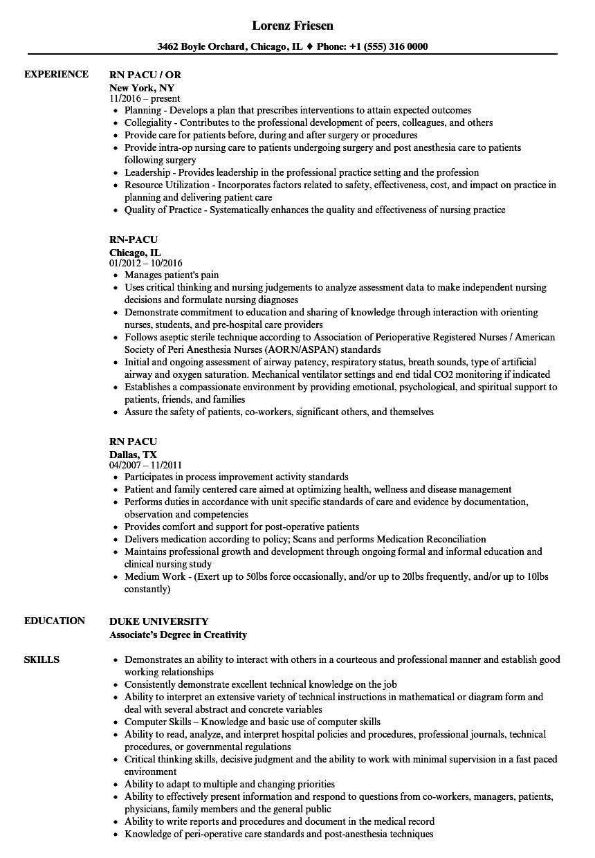rn pacu resume samples