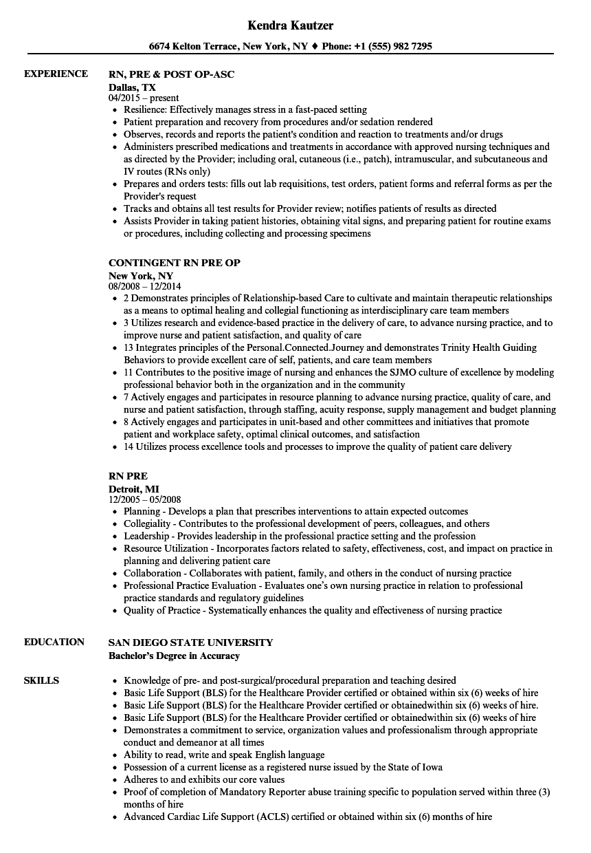 download rn pre resume sample as image file - Resume Samples