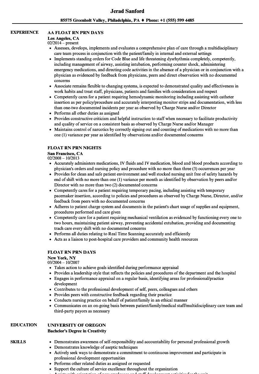 Rn Prn Resume Samples Velvet Jobs