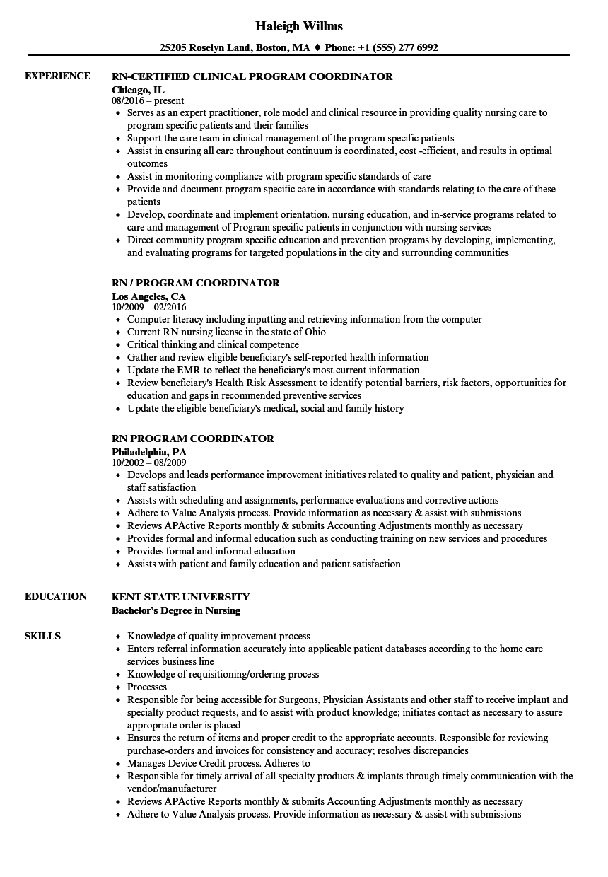 Download RN Program Coordinator Resume Sample As Image File