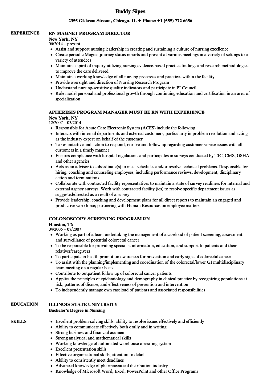 RN Program Resume Samples Velvet Jobs