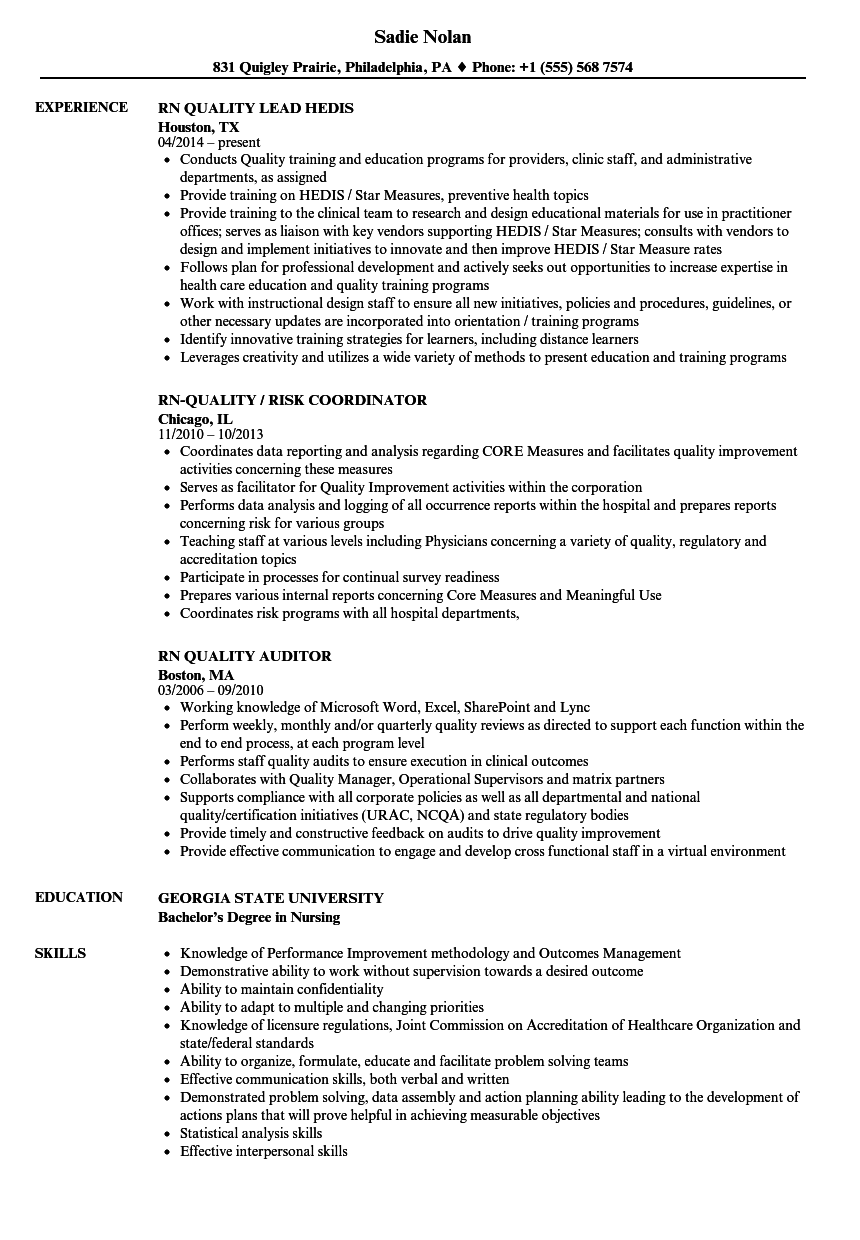 RN Quality Resume Samples | Velvet Jobs