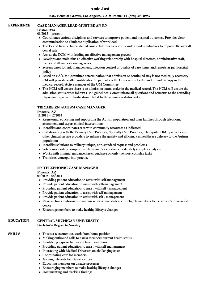 Rn Rn Case Manager Resume Samples Velvet Jobs