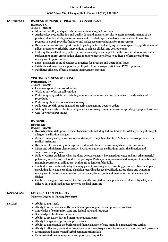Rn Senior Resume Samples | Velvet Jobs
