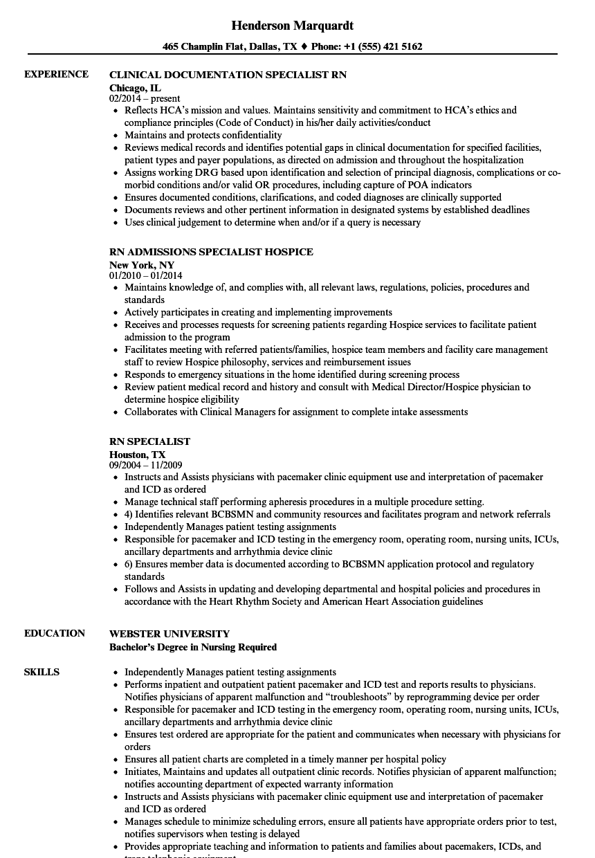download rn specialist resume sample as image file - Licensing Specialist Sample Resume