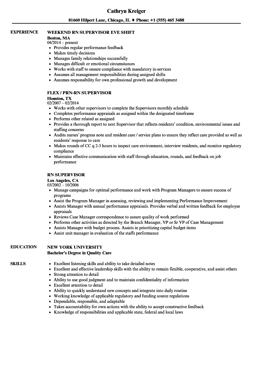 Rn Supervisor Resume Samples Velvet Jobs