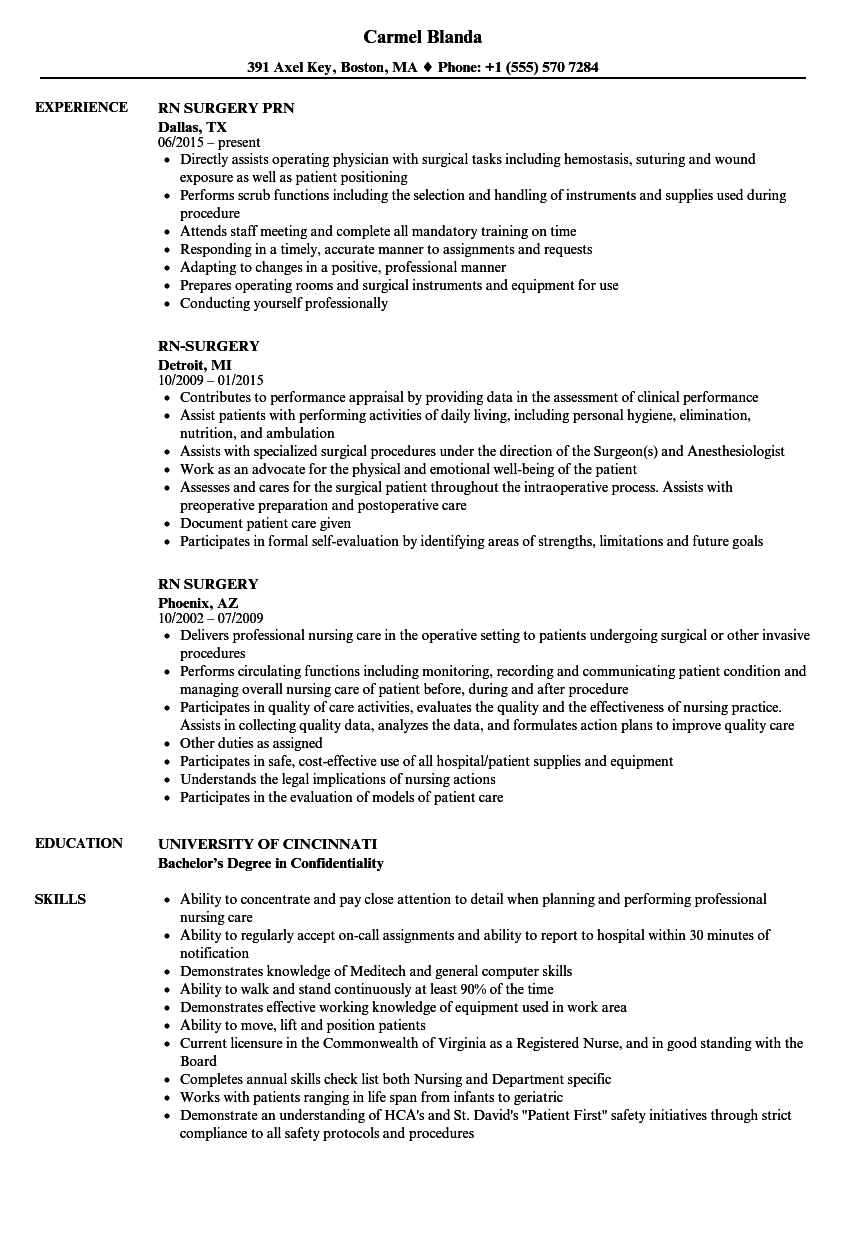 Rn Surgery Resume Samples Velvet Jobs