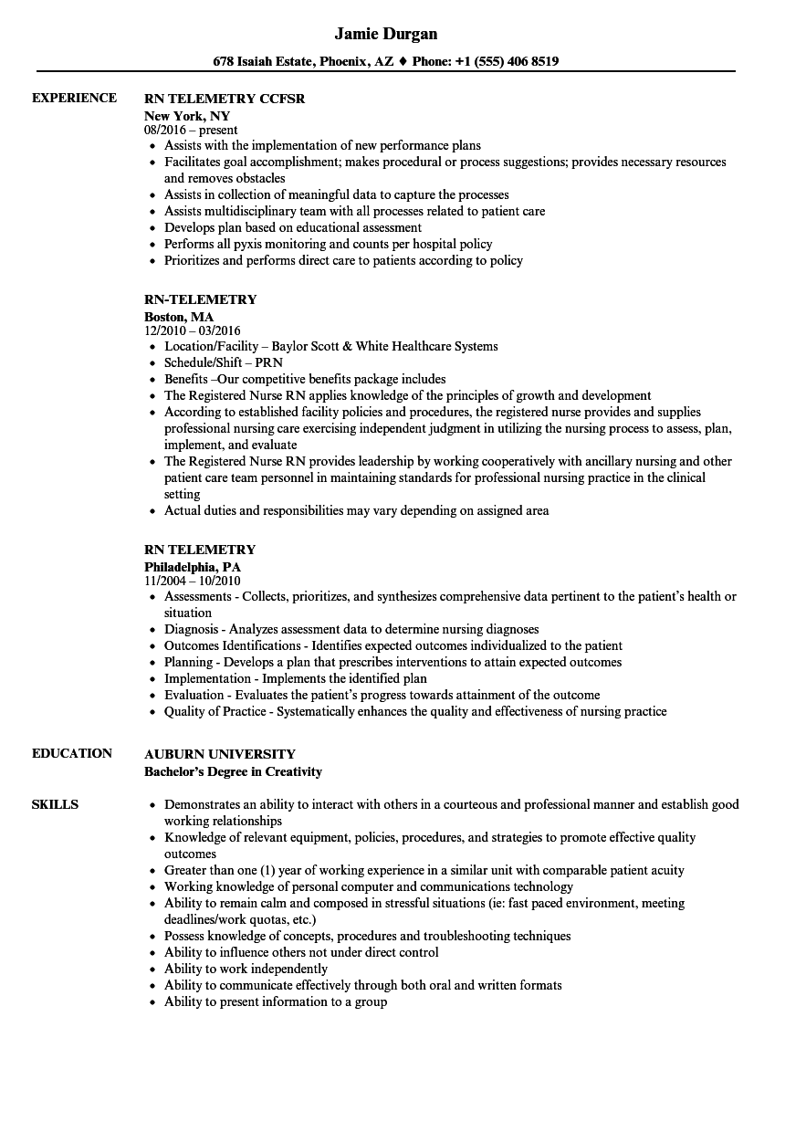 Rn-telemetry Resume Samples | Velvet Jobs