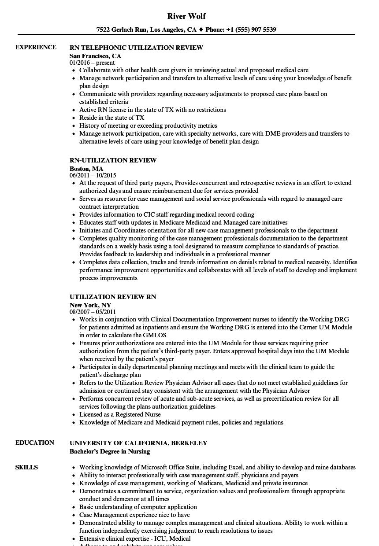 Rn Utilization Review Resume Samples