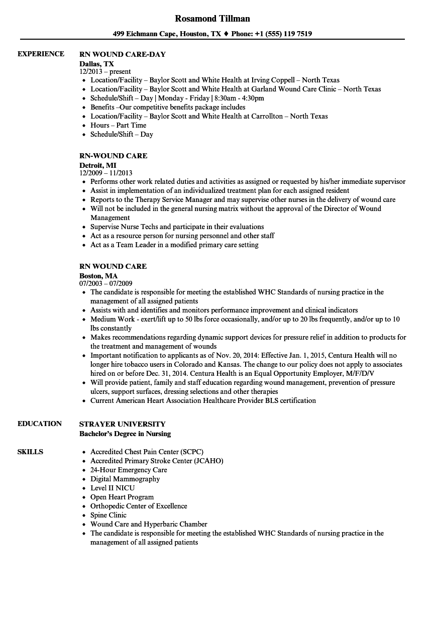 Download RN Wound Care Resume Sample As Image File