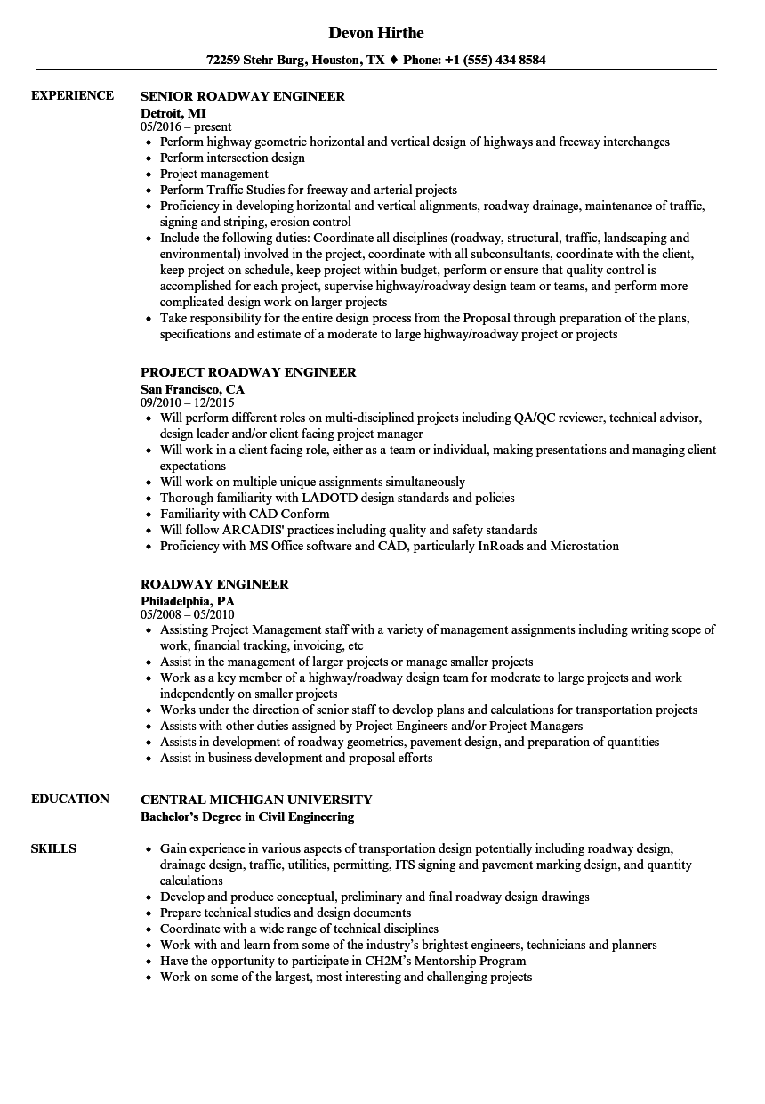 roadway engineer resume samples