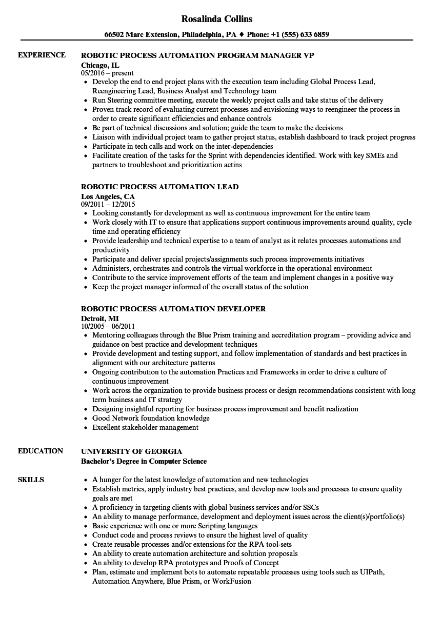 Robotic Process Automation Resume Samples | Velvet Jobs