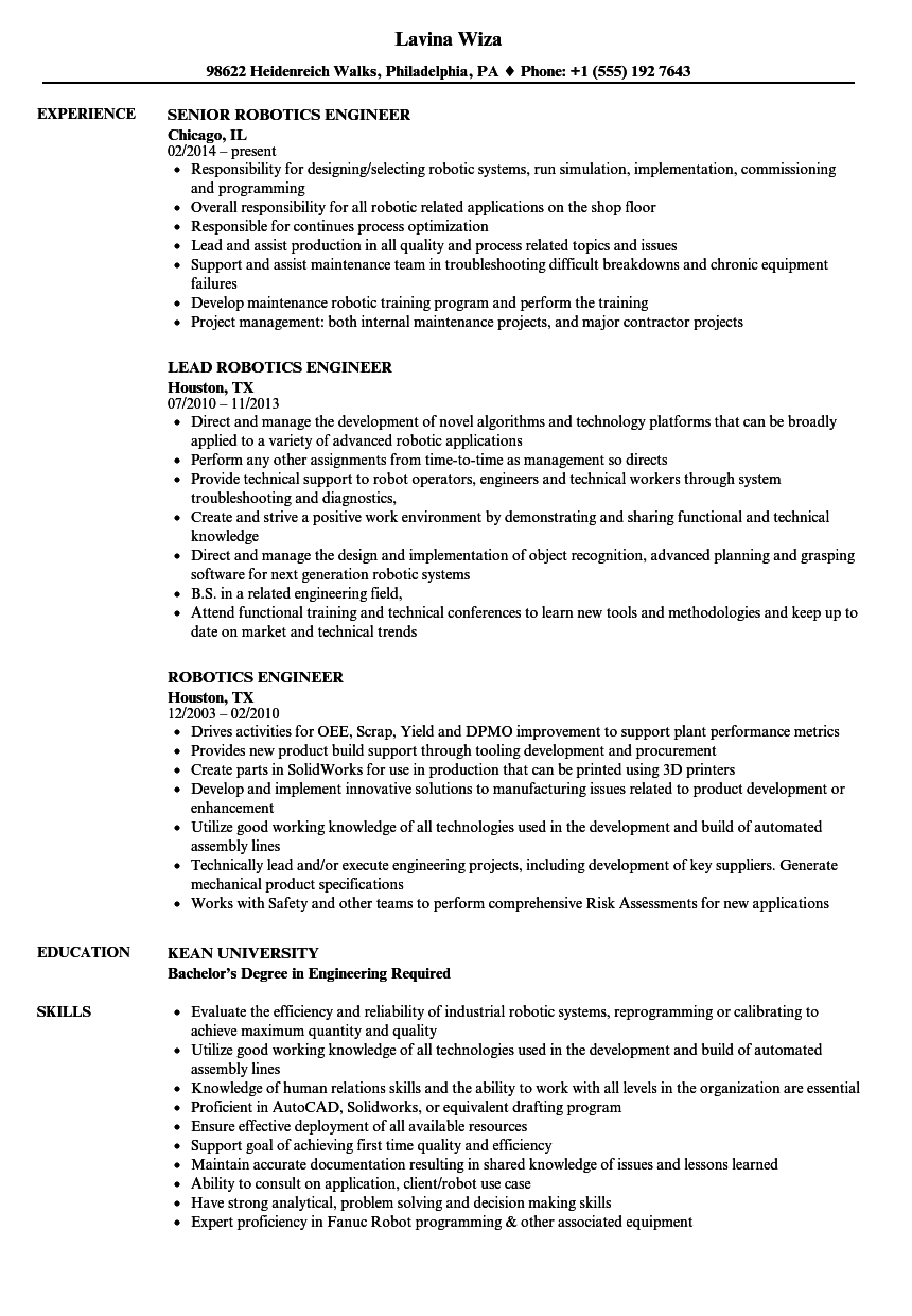 Robotics Engineer Resume Samples | Velvet Jobs