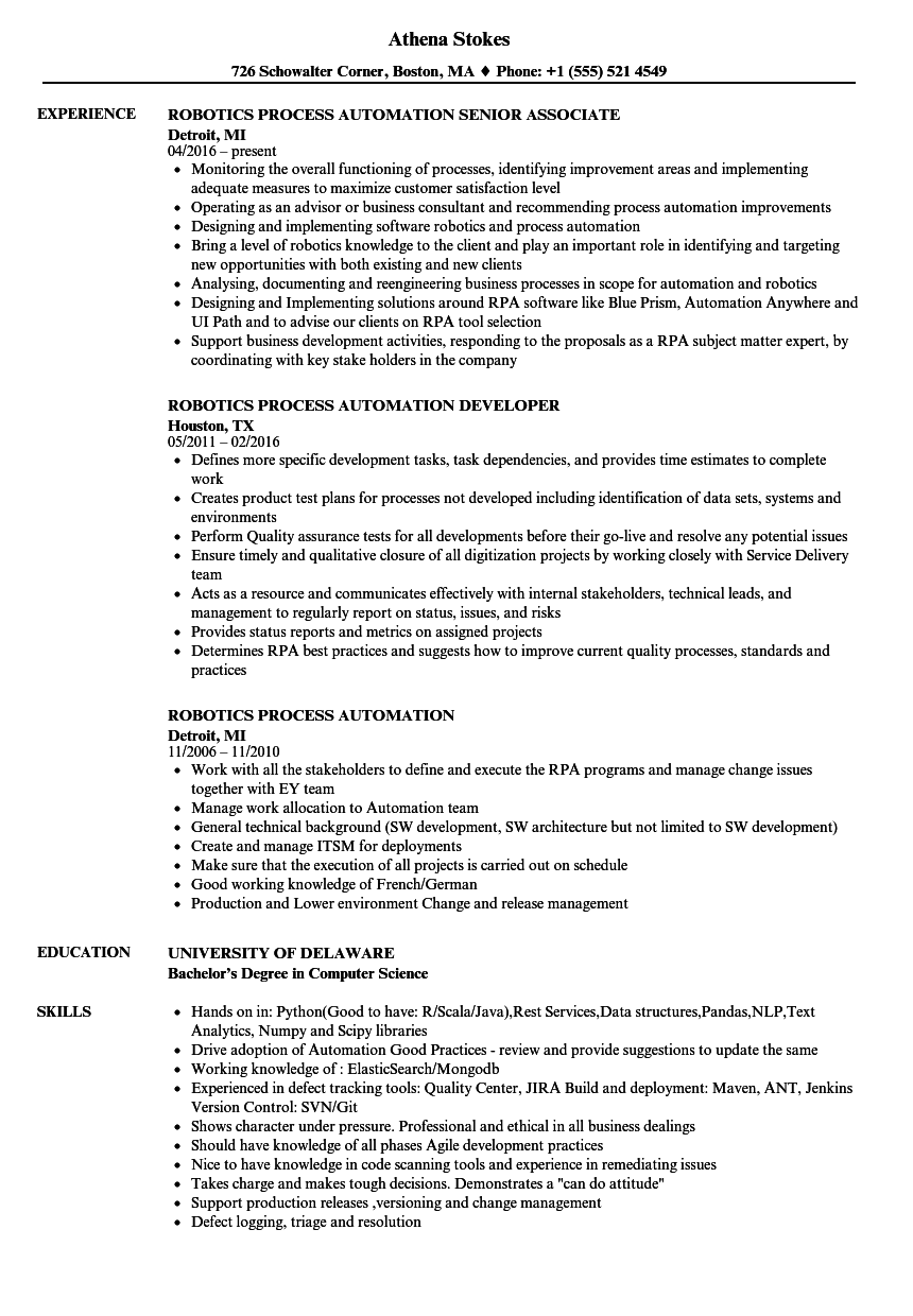 Robotics Process Automation Resume Samples | Velvet Jobs