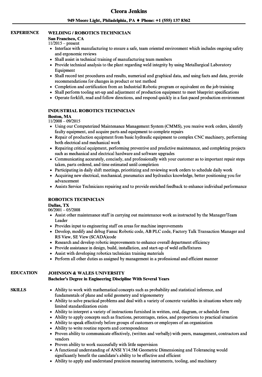 Robotics Technician Resume Samples | Velvet Jobs