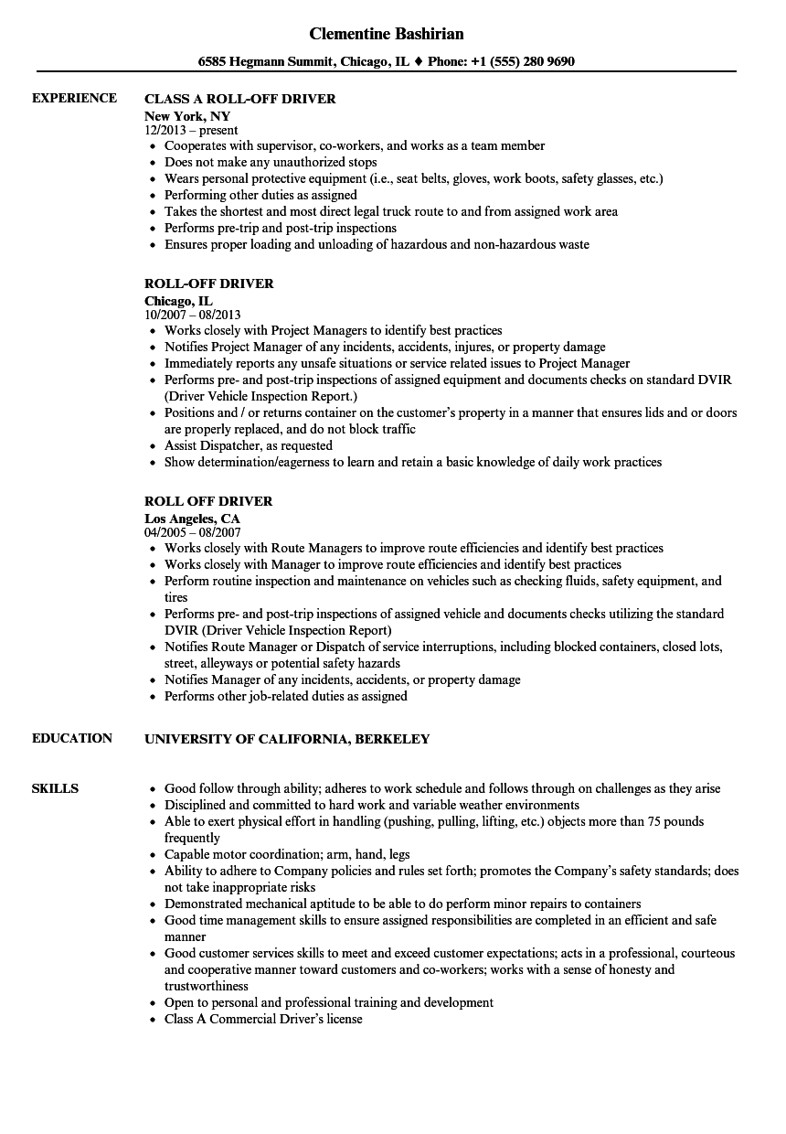 roll off driver resume samples velvet jobs