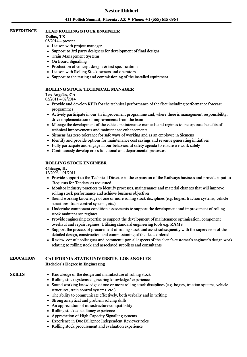 Rolling Stock Resume Samples Velvet Jobs