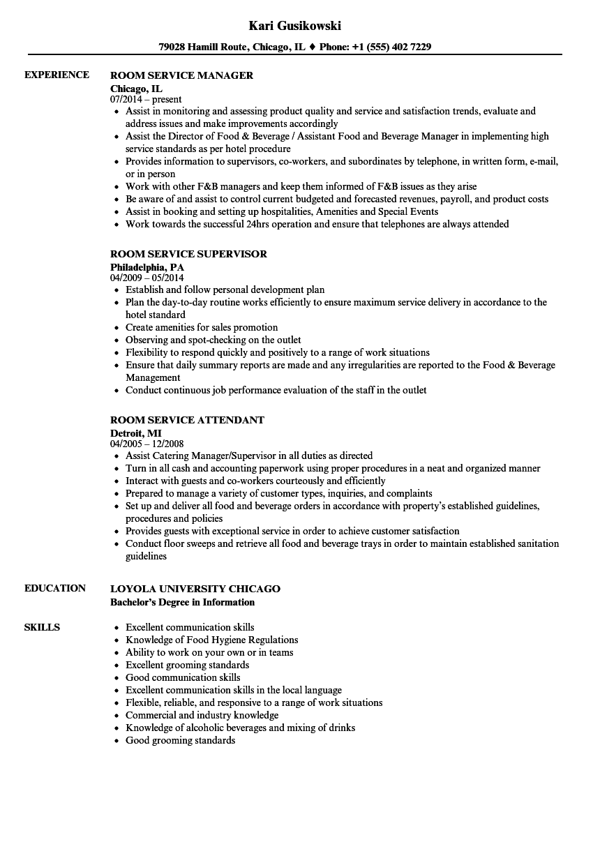 Download Room Service Resume Sample As Image File