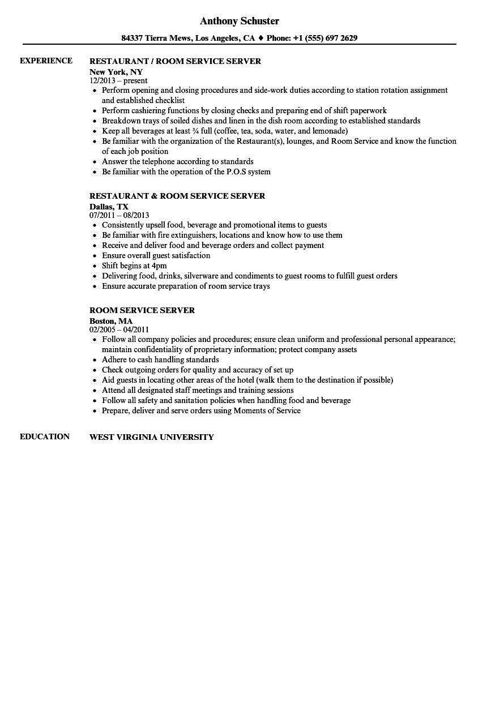 Room Service Server Resume Samples | Velvet Jobs