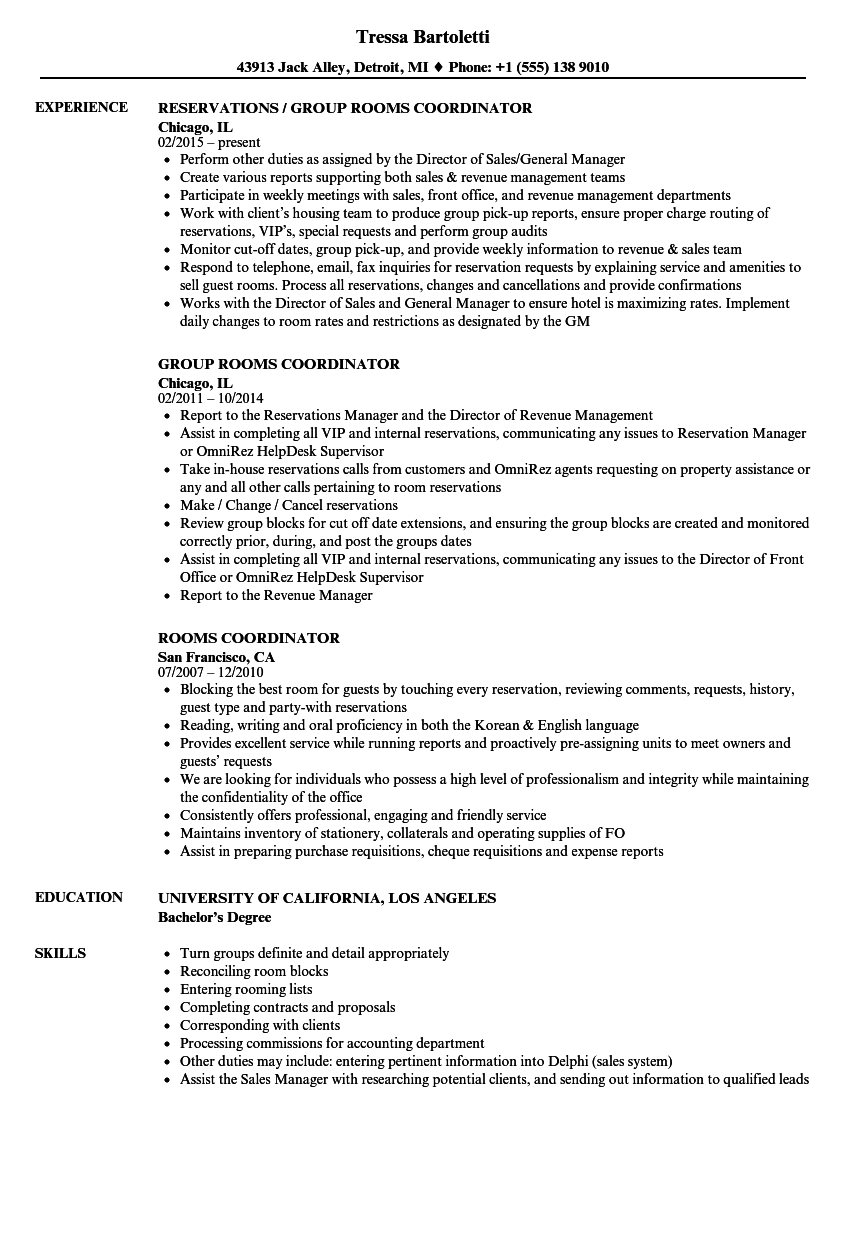 rooms coordinator resume samples