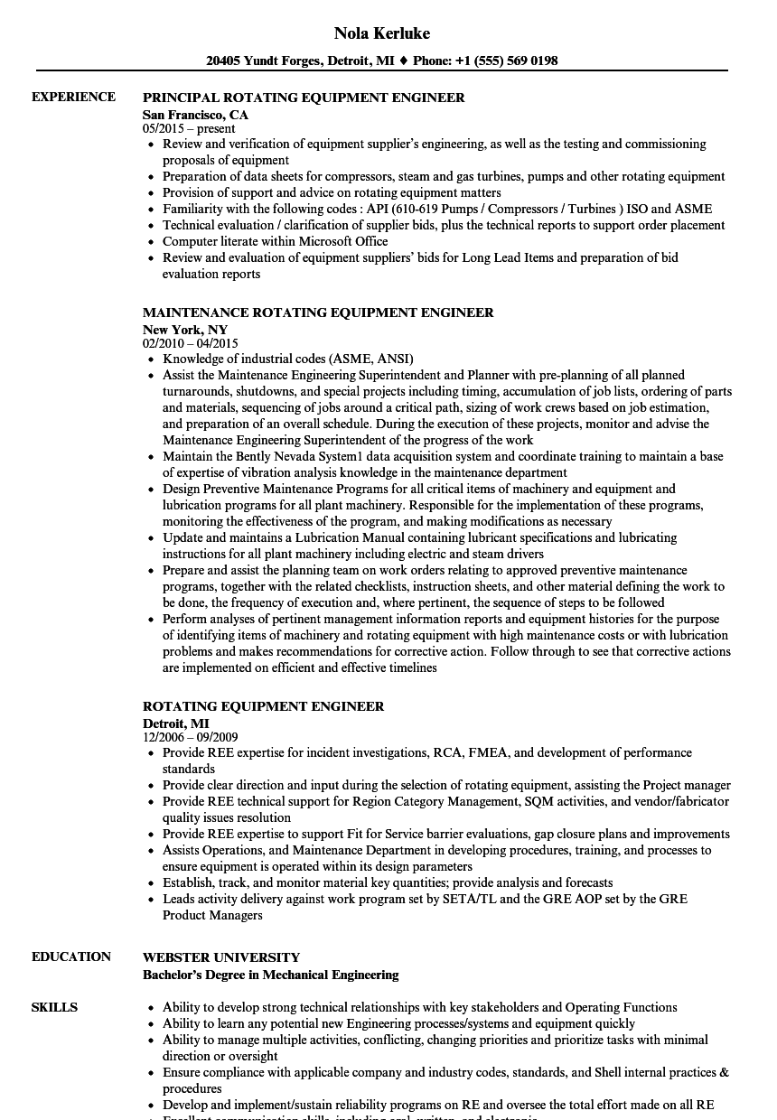Rotating Equipment Engineer Resume Samples Velvet Jobs