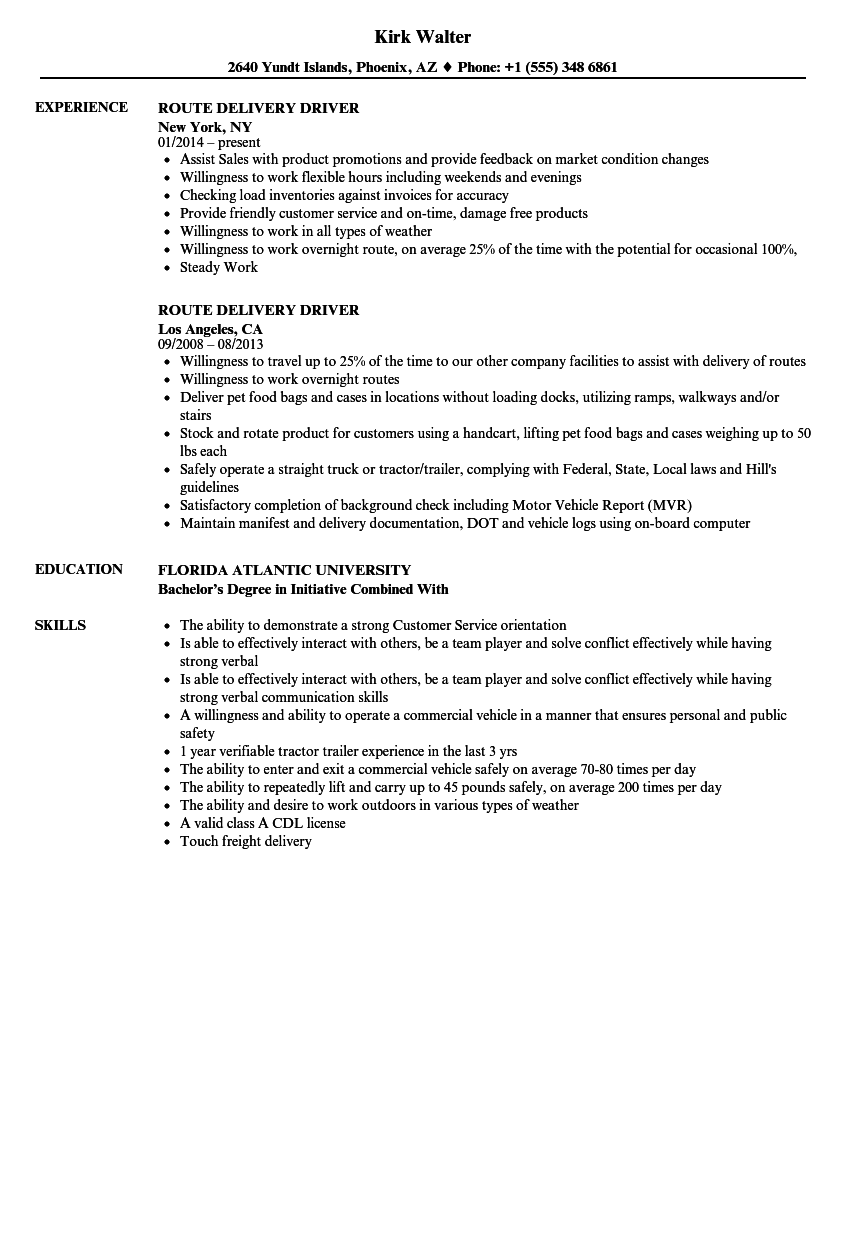 route delivery driver resume samples