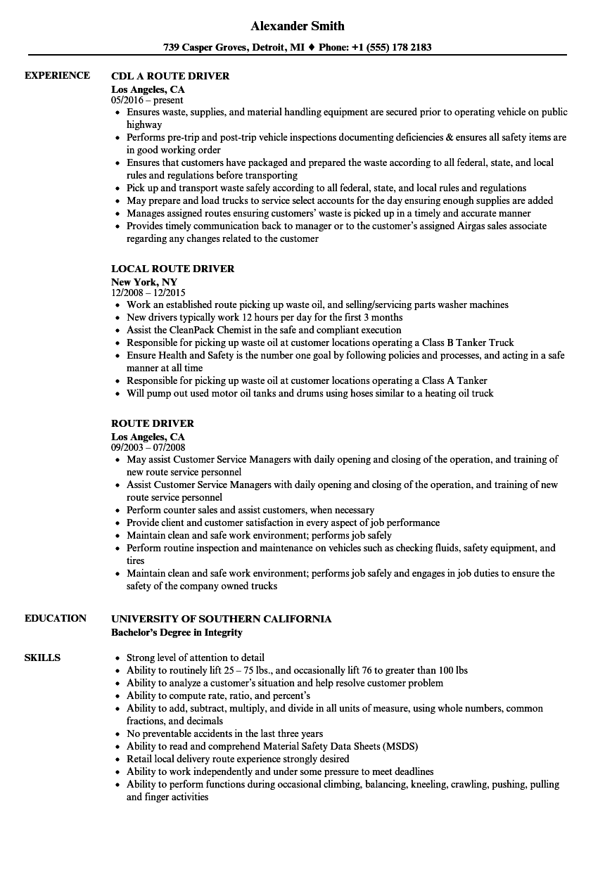route driver resume samples