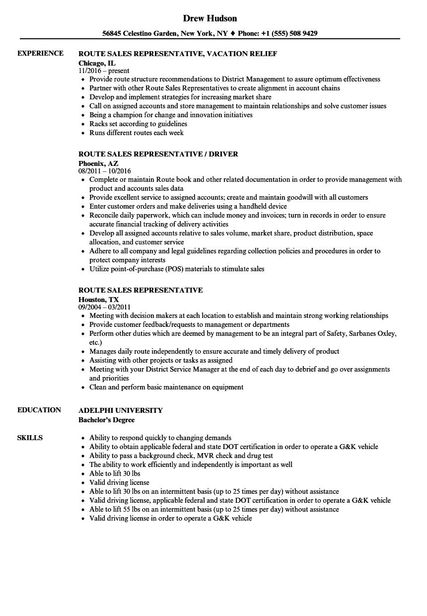 Captivating Route Sales Representative Resume