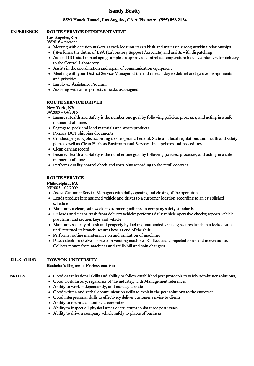route service resume samples