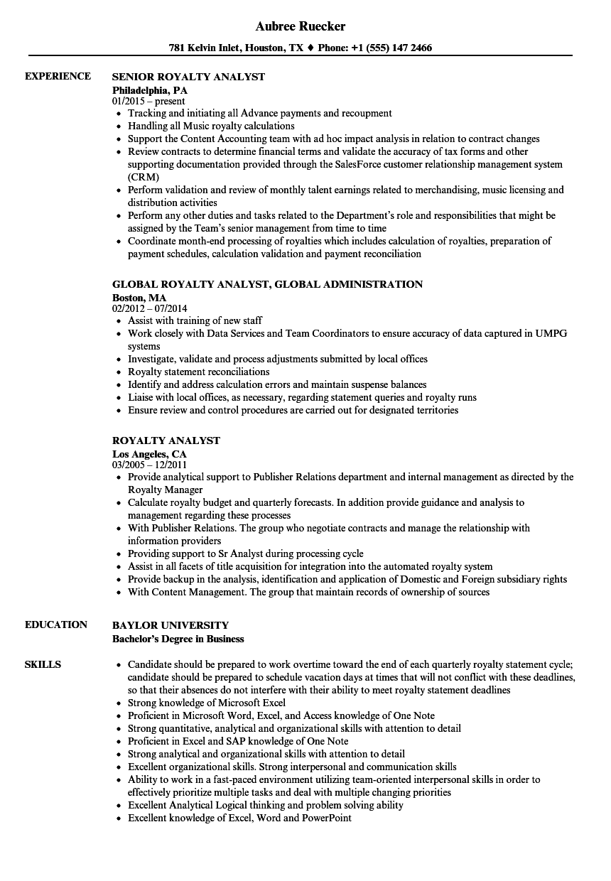 Download Royalty Analyst Resume Sample As Image File  Analyst Resume Examples