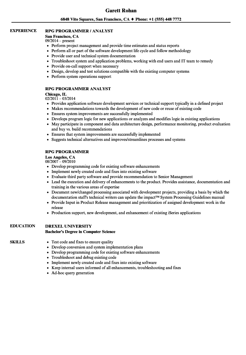 rpg programmer resume samples velvet jobs