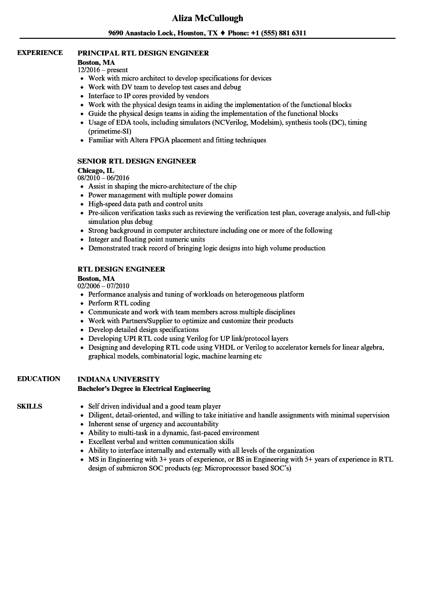 rtl design engineer resume samples