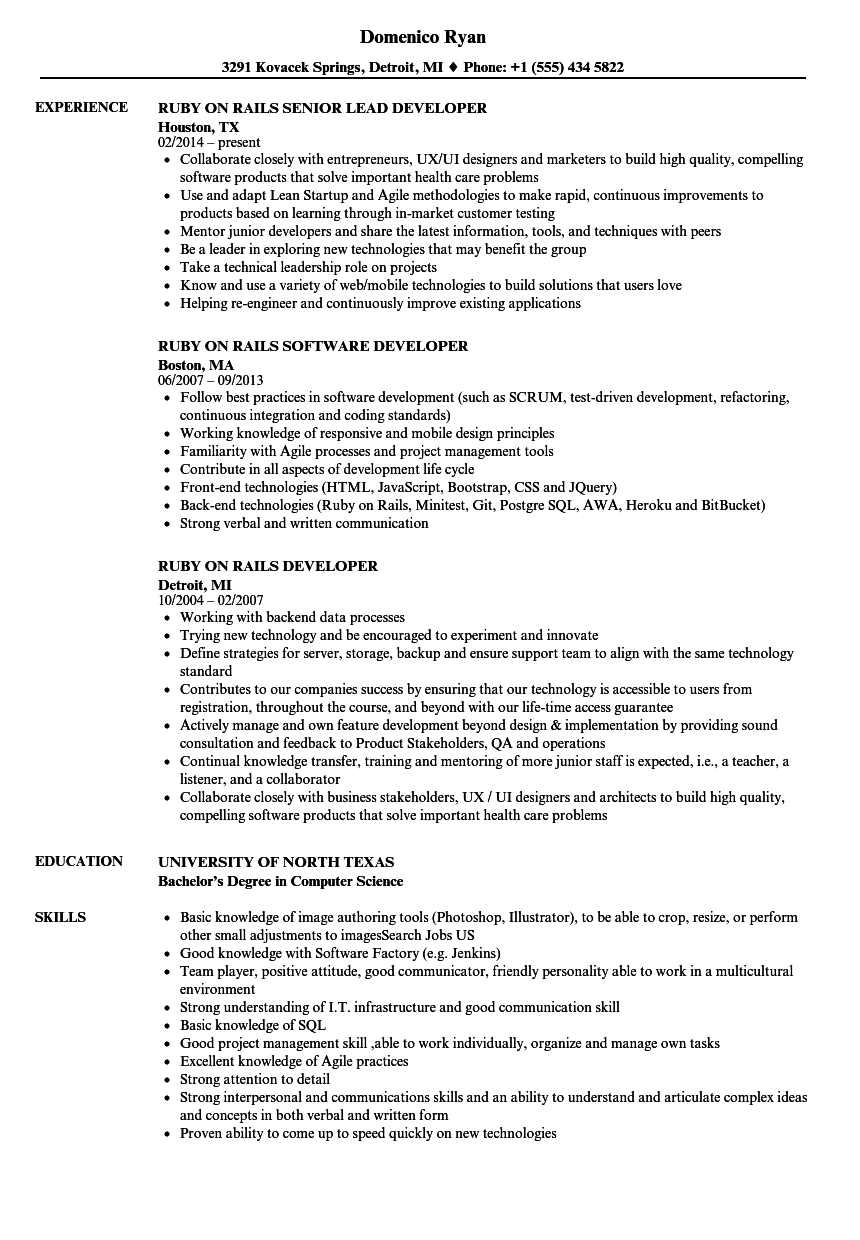 Ruby Rails Developer Resume Samples | Velvet Jobs