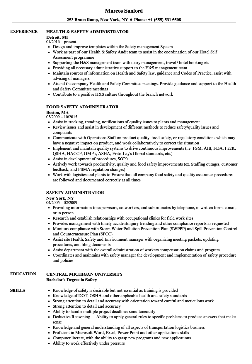 Safety Administrator Resume Samples | Velvet Jobs