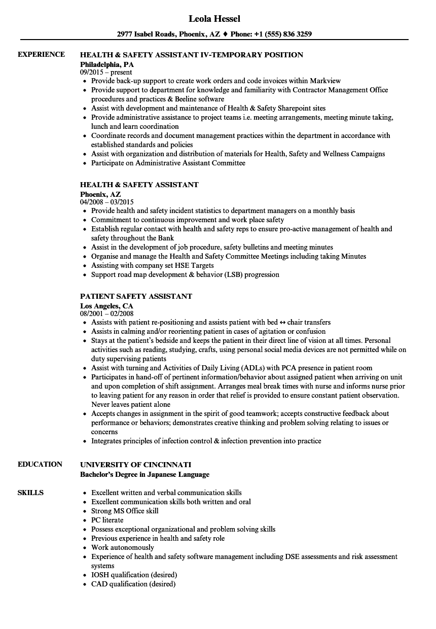 Safety Assistant Resume Samples Velvet Jobs