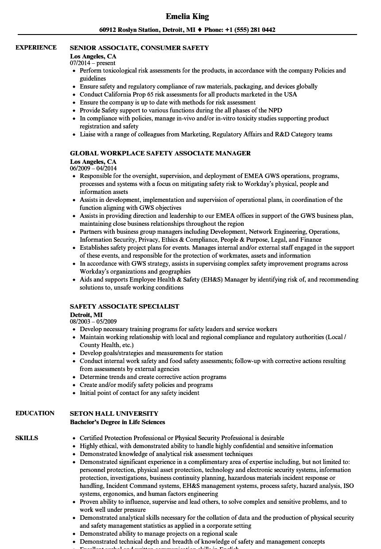 safety associate resume samples velvet jobs