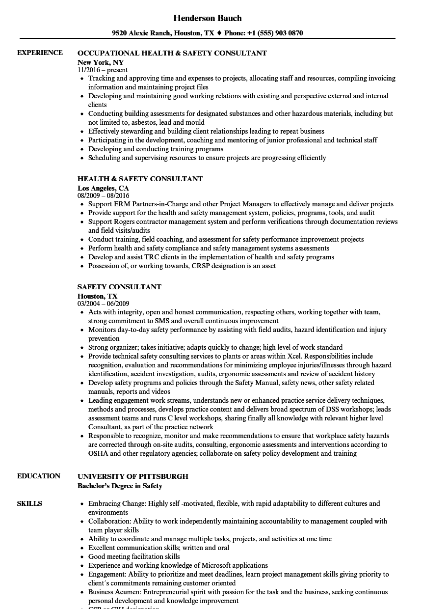 Safety Consultant Resume Samples | Velvet Jobs