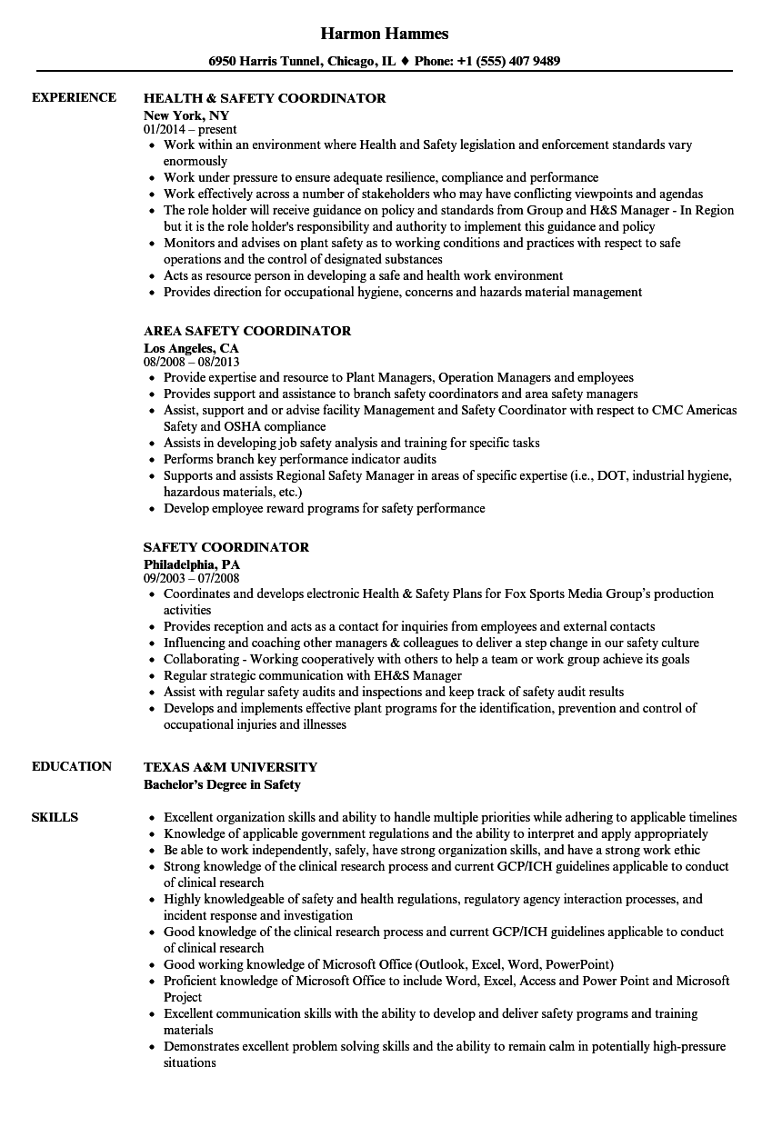 Safety Coordinator Resume Samples Velvet Jobs