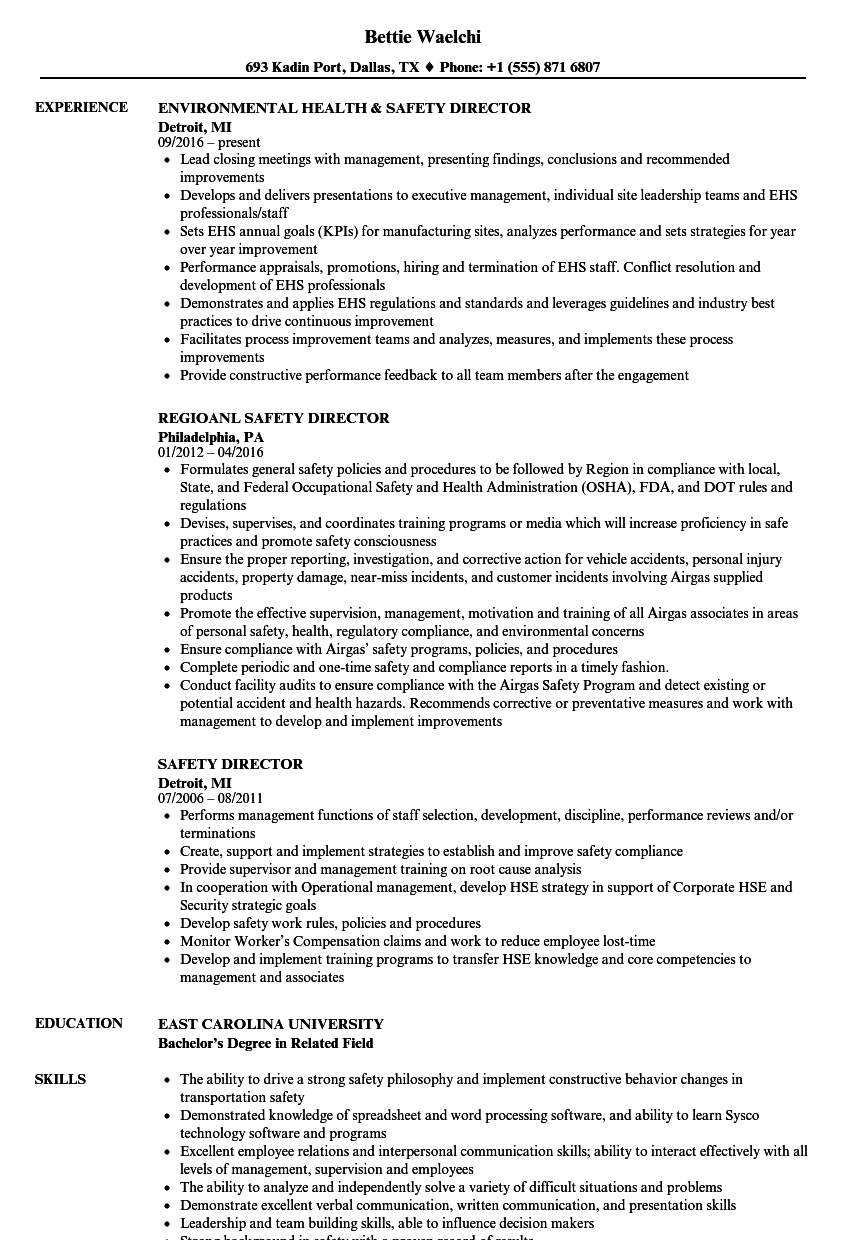 safety director resume samples