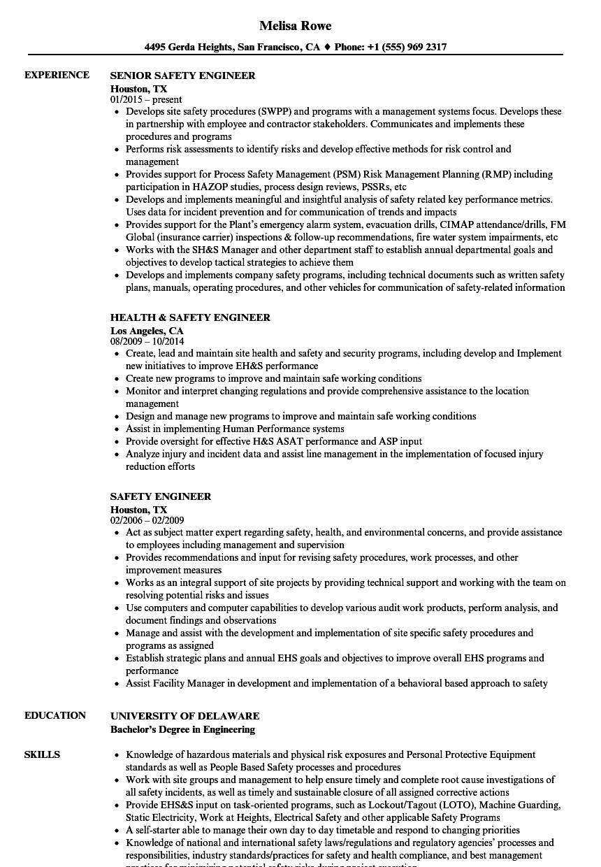 safety engineer resume samples