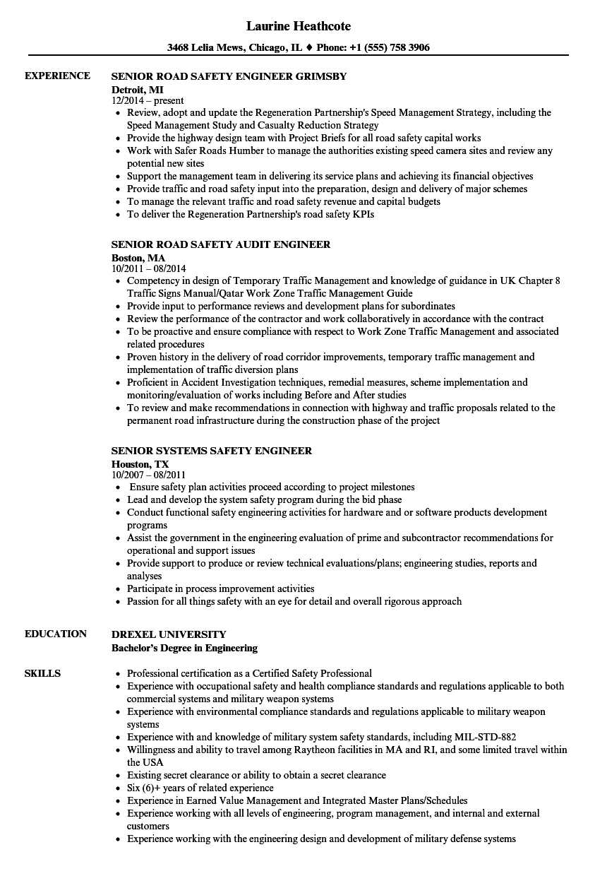 safety engineer  senior resume samples