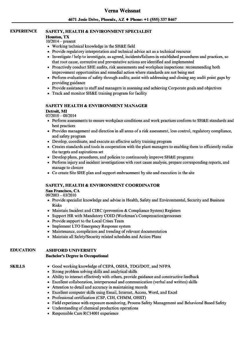 Safety Health   Environment Resume Samples   Velvet Jobs