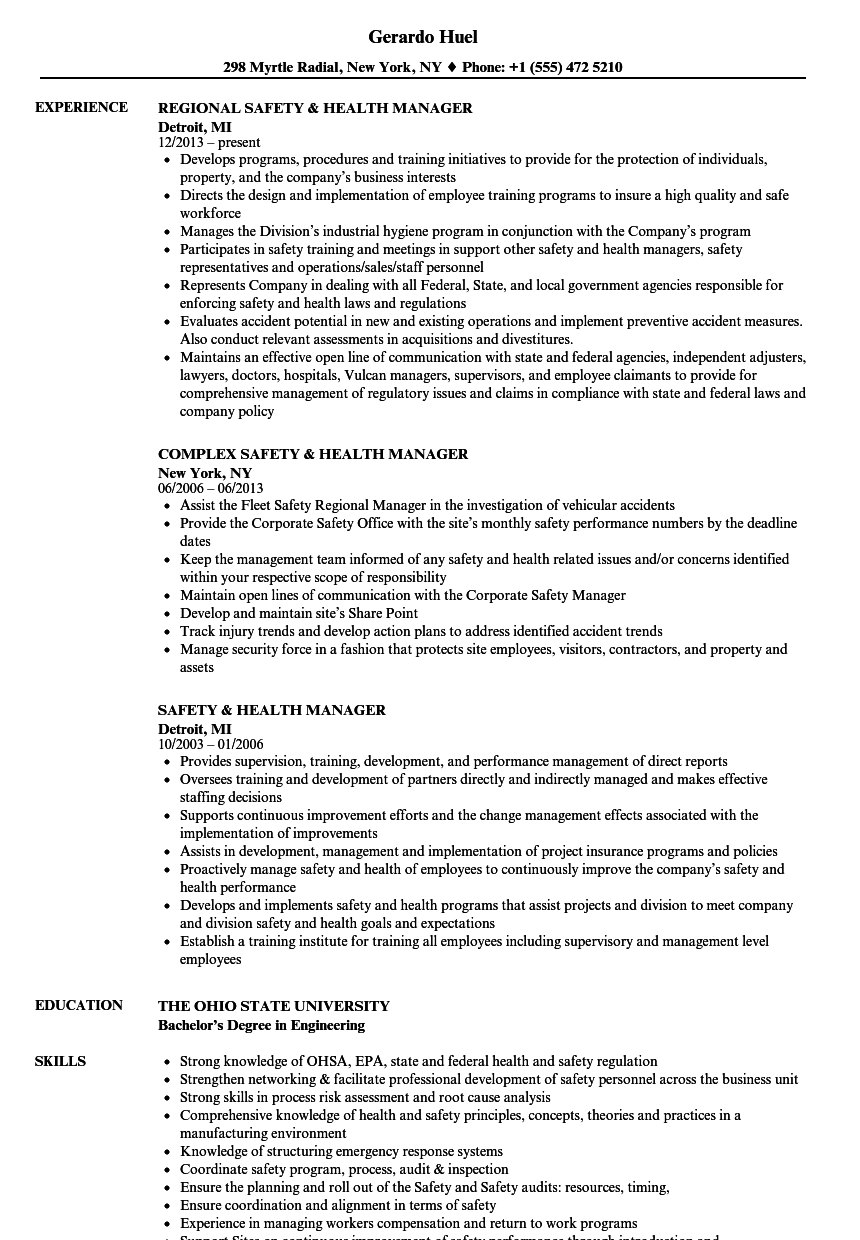 safety  u0026 health manager resume samples