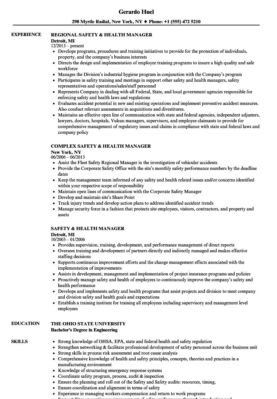 safety  u0026 health manager resume samples