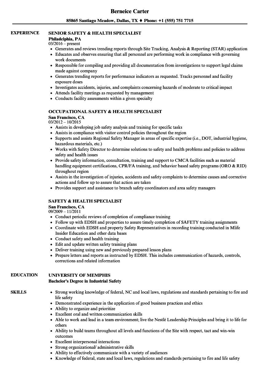 safety  u0026 health specialist resume samples