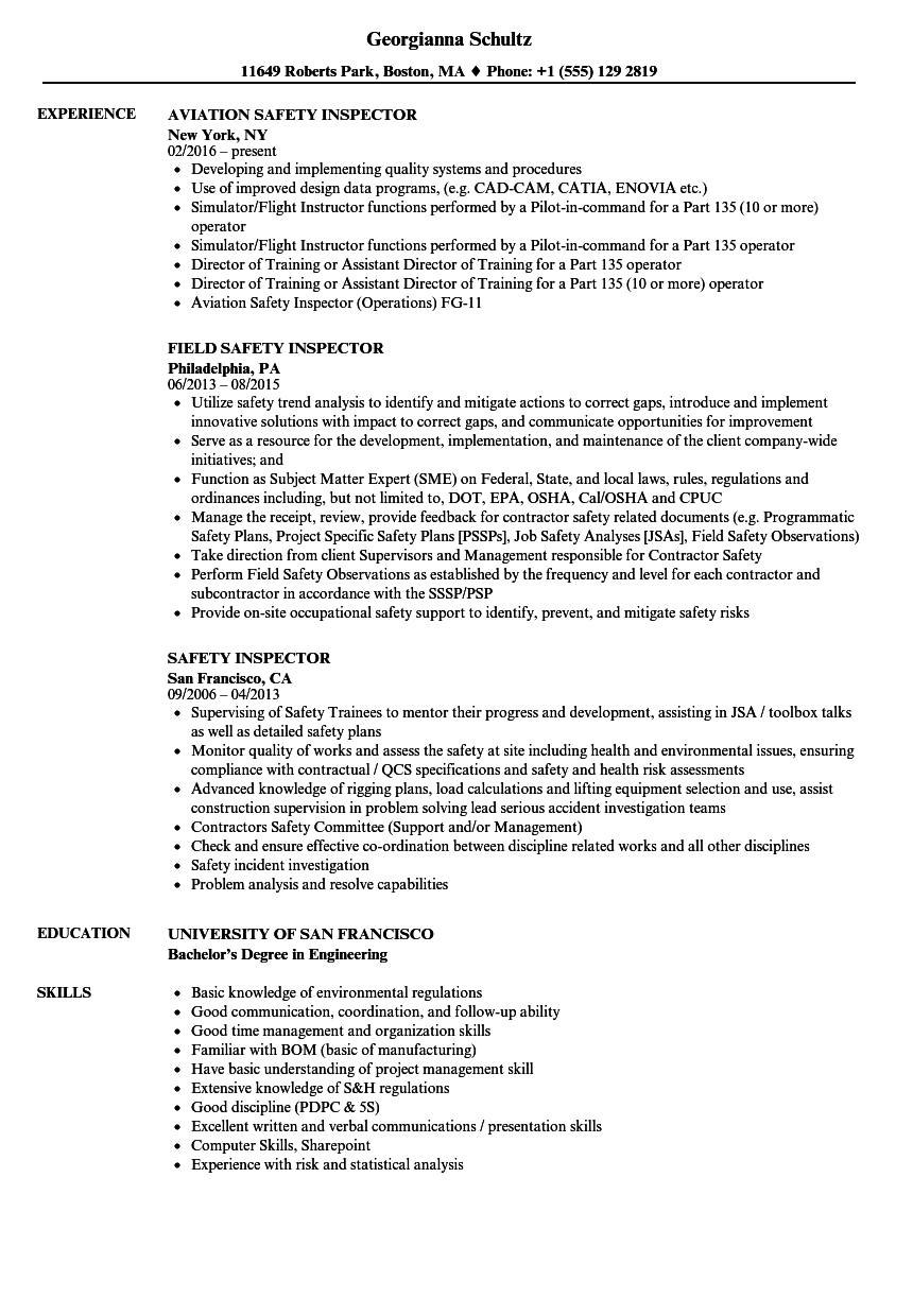 safety inspector resume samples