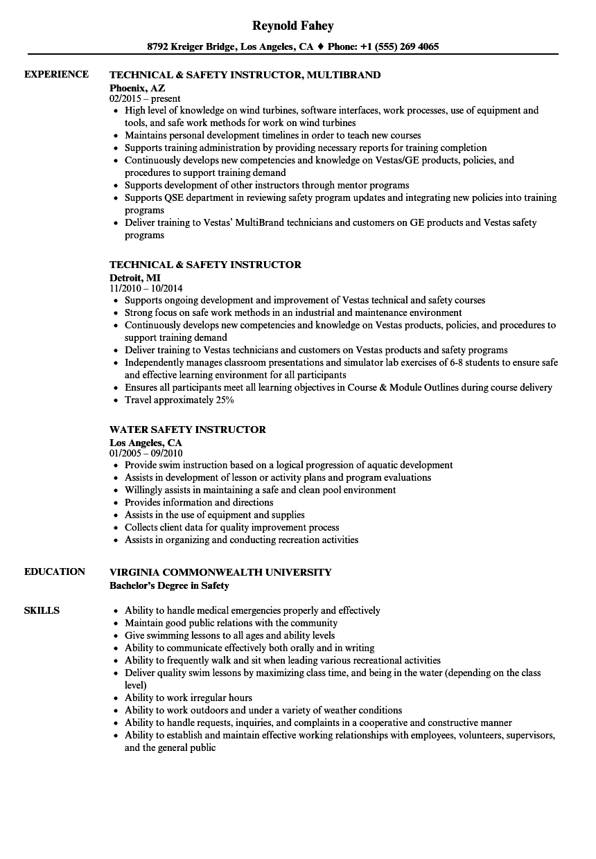 Safety instructor resume samples velvet jobs download safety instructor resume sample as image file 1betcityfo Image collections
